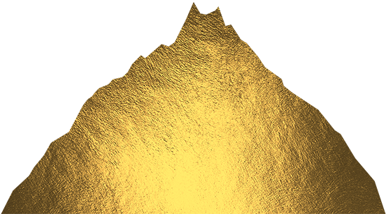 a golden mountain that rises up through ocean waves